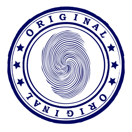 Abstract office rubber stamp with finger print Vector
