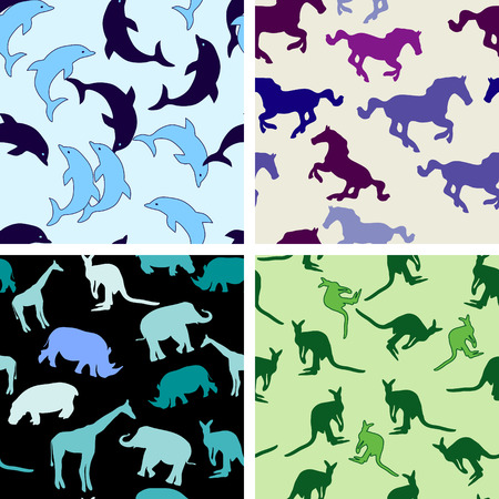 collection of SEAMLESS wallpapers with different animals Vector