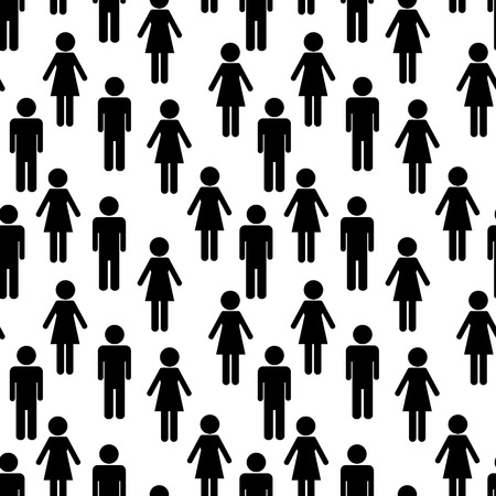 Vector seamless woman and man silhouettes Vector