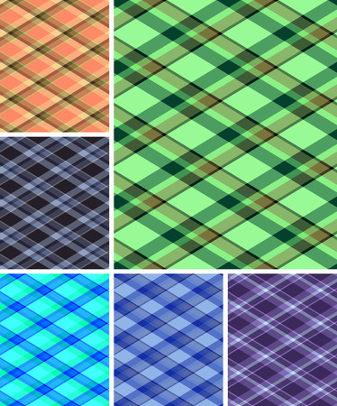 Collection of seamless plaid patterns. Volume 11 Vector