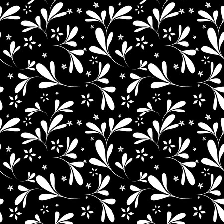 Vector seamless black floral background Stock Vector - 4443396