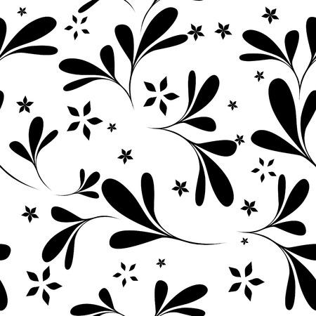 seamless black & white flower wallpaper Stock Vector - 4443388