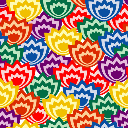 Vivid, colorful, repeating flower seamless background Vector