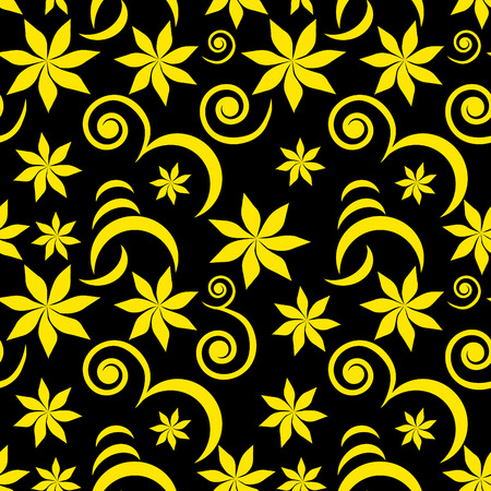 Vector. Seamless floral background with golden colors. See more floral background inside of my portfolio. Illustration