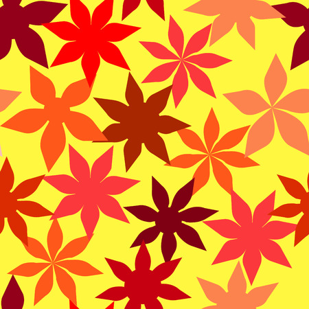 calendula flower: Vector. Seamless floral background with hot colors. See more floral background inside of my portfolio.
