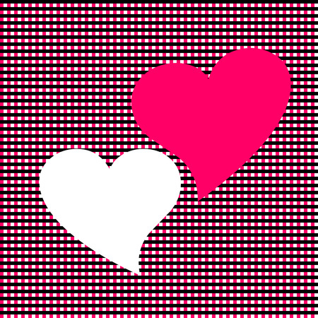 Two hearts are located closely to each other Vector