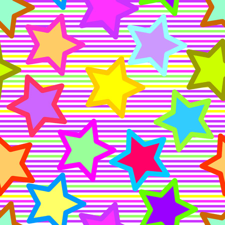 Retro vivid seamless star background Vector