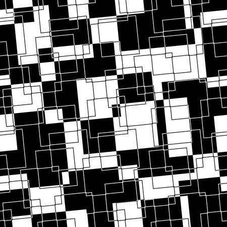 zwart wit tekening: Retro zwarte en witte rechthoeken naadloze achtergrond Stock Illustratie