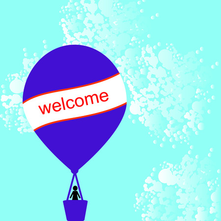 hot air balloon with card for your message Vector