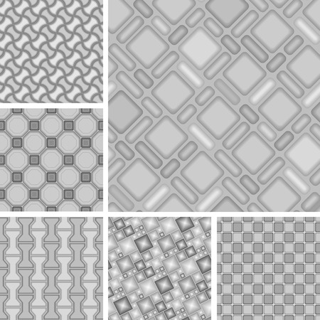 Seamless 3d vector patterns with tiles Illustration