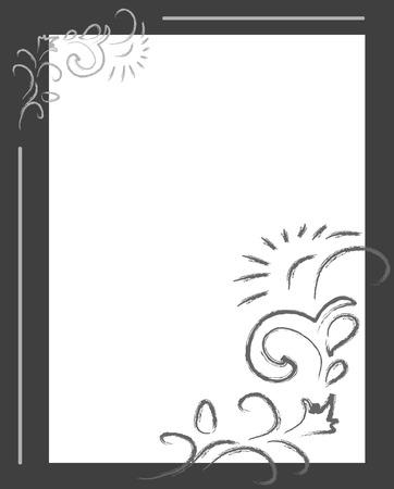 uncolored: Uncolored vector floral fondo con campo de texto