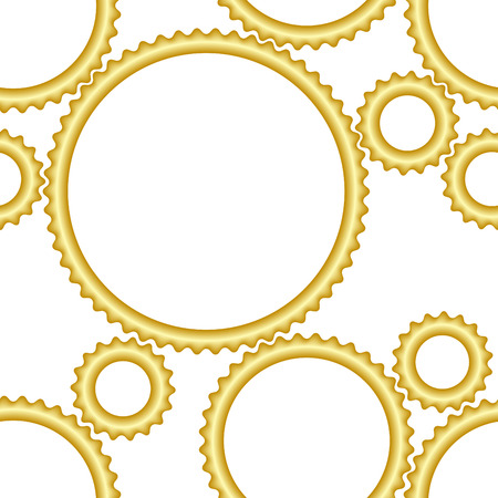 Seamless cogwheel gold pattern - factory background Vector