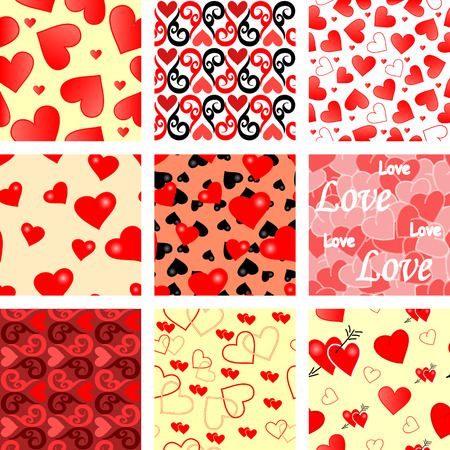 endearment: Collection of seamless vector wallpaper valentines with hearts