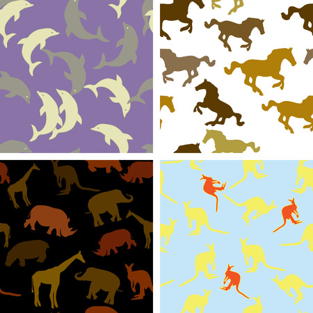 red kangaroo: collection of SEAMLESS wallpapers with different animals Illustration