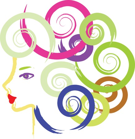 Art girl with locky curl on the white.  Vector