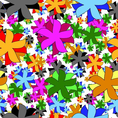 Vivid colorful repeating flower background Vector