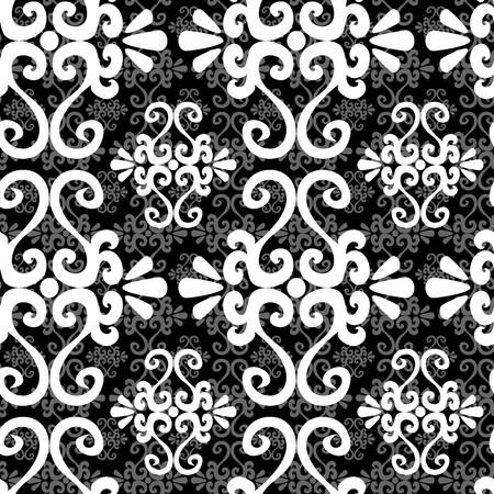uncolored: Seamless ornamento blanco y negro, patr�n Vectores