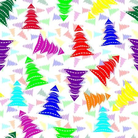 Seamless vivid colorful christmas tree design Vector