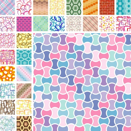 Many retro seamless color patterns