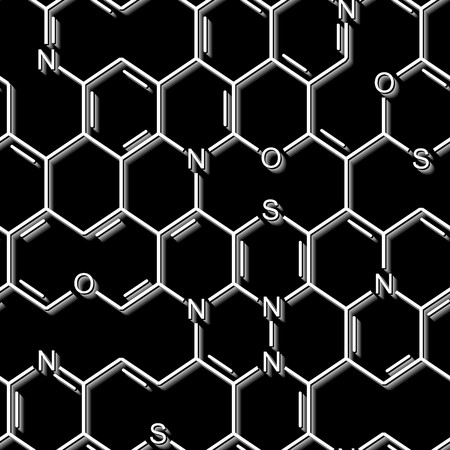 Seamlessly wallpaper chemistry formulas on black Vector