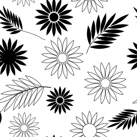 Seamless black and white flower wallpaper Illustration