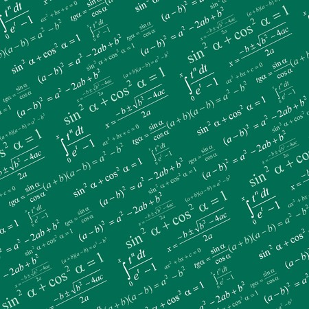 computation: Seamlessly vector wallpaper mathematics on green blackboard
