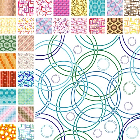 Many retro seamless color patterns Vector