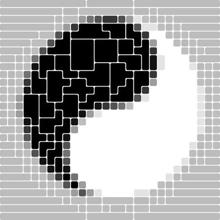 Art 3d puzzle Yin-Yang symbol Vector