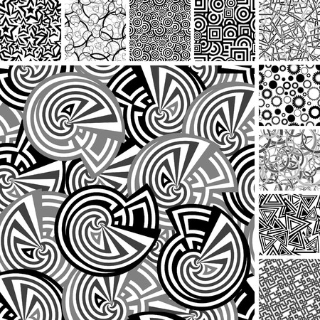 Retro black and white seamless wallpapers Vector
