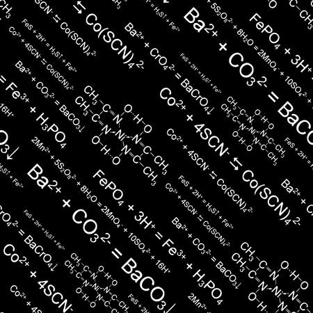 seamlessly: Formule di chimica Senza soluzione di continuit� su sfondo nero Vettoriali