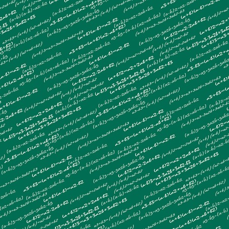 classroom chalkboard: Seamlessly vector wallpaper mathematics on green blackboard
