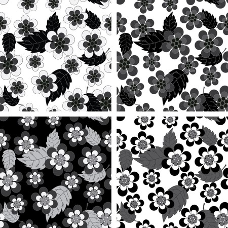 Seamless black and white flower wallpaper Vector