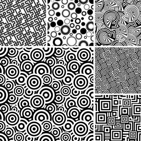 numerous: Retro black and white seamless wallpapers