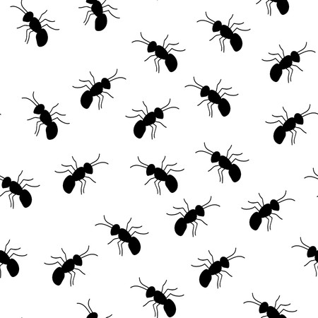 Vector seamless wallpaper with ants Illustration