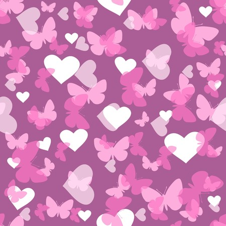 Seamless vector wallpaper valentines with hearts and butterfly Vector