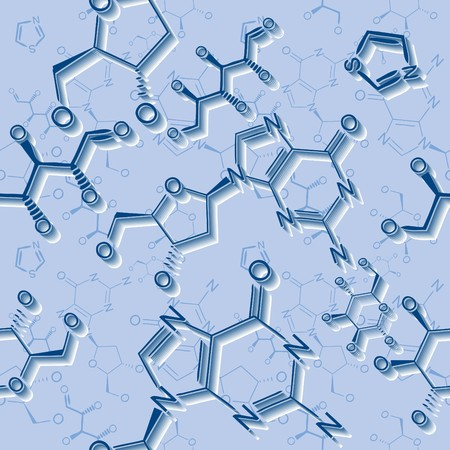 Seamlessly vector wallpaper chemistry scribbles on blue Stock Vector - 6018742