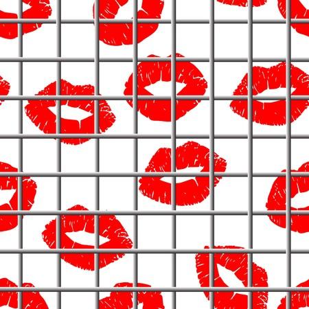 smooch: Seamless grating lips bacrground - image for Valentines day design Illustration