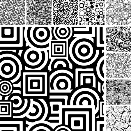 Retro black and white seamless backgrounds Illustration