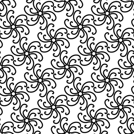 Seamless black and white swirl ornament pattern Vector