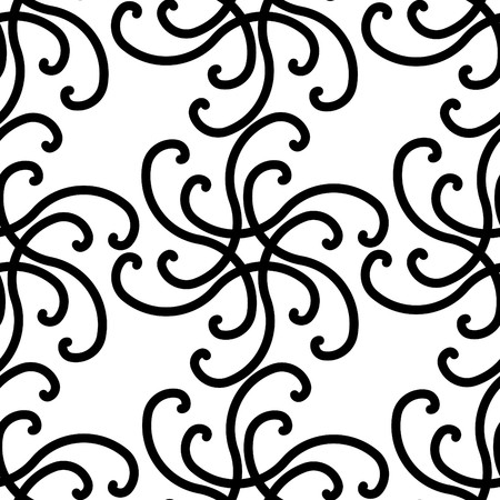 Seamless black and white swirl pattern Vector