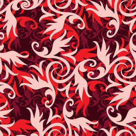 red swirl: Seamless ricciolo rosso soprammobile pattern Vettoriali