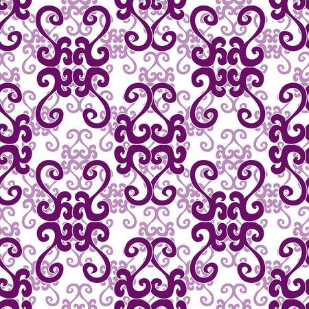 Seamless violet swirl ornament pattern Vector