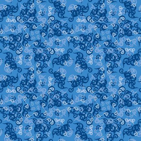blue swirl: Seamless blue swirl ornament pattern