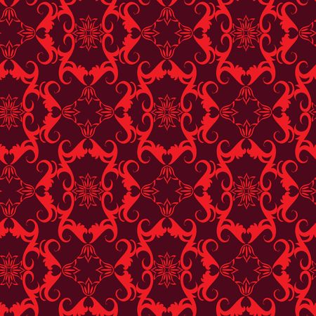 Seamless red swirl ornament pattern