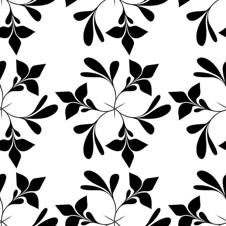 Seamless black and white floral wallpaper Stock Vector - 6668647