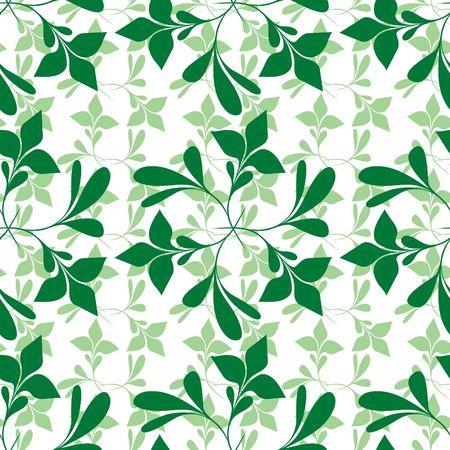 Seamless green plant wallpaper on white Stock Vector - 6668655