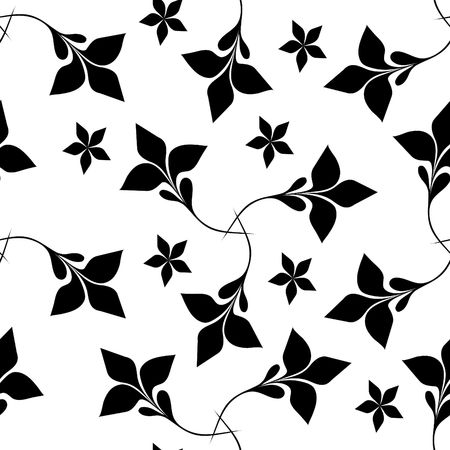 Seamless black and white floral wallpaper Stock Vector - 6668650