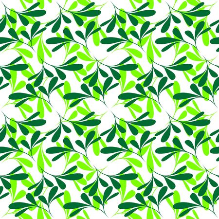 Seamless green plant wallpaper on white Stock Vector - 6684837