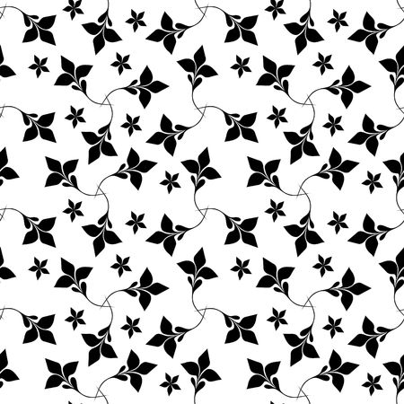 Seamless black and white floral wallpaper Stock Vector - 6684844