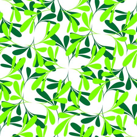 Seamless green plant wallpaper on white Vector